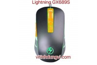 CHUỘT LIGHTNING LED GX689S - ĐEN XÁM (LED LOGO)