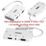 CÁP Mini DisplayPort TO DVI+VGA+HDMI UNITEK - YC6354